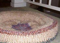 Hand knit dog bed